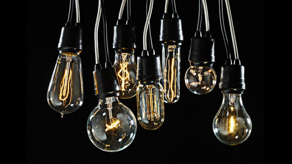 03 Nov 2009, New York, NY, USA --- Group of Edison lightbulbs --- Image by © Dan Saelinger/Corbis